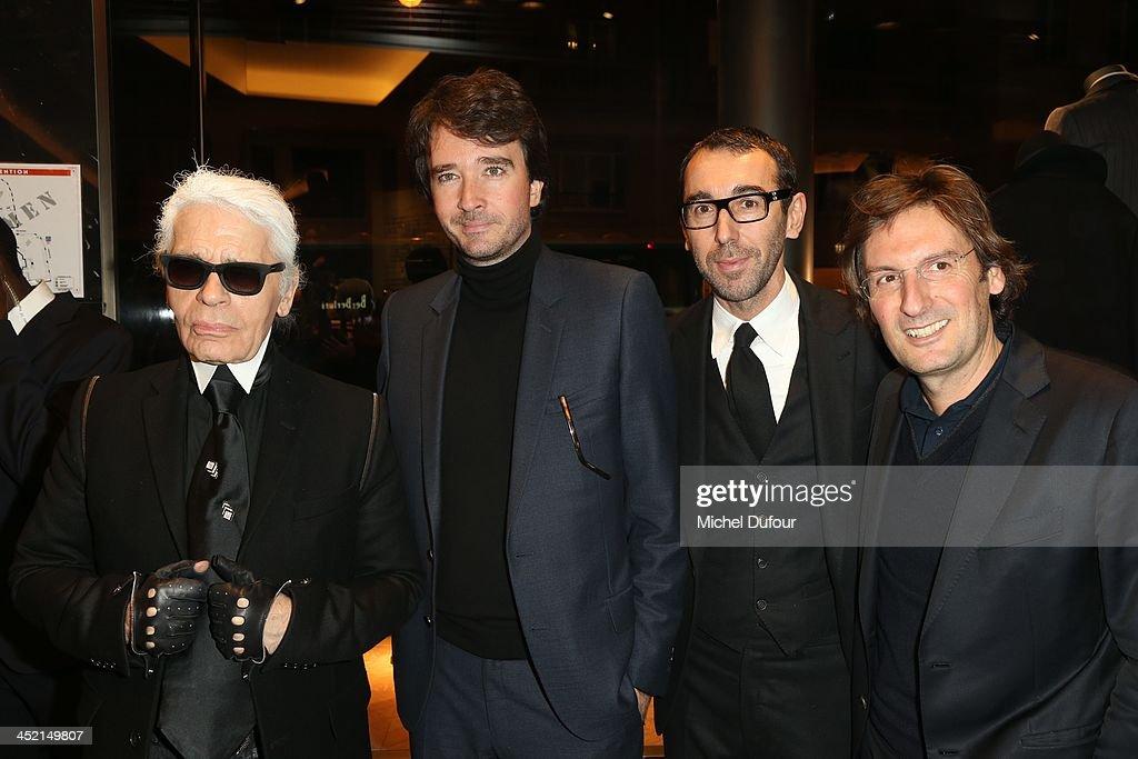 Karl Lagerfeld Antoine Arnault Alessandro Sartori and Pietro Beccari attend the Berluti Flagship Store Opening on November 26 2013 in Paris France