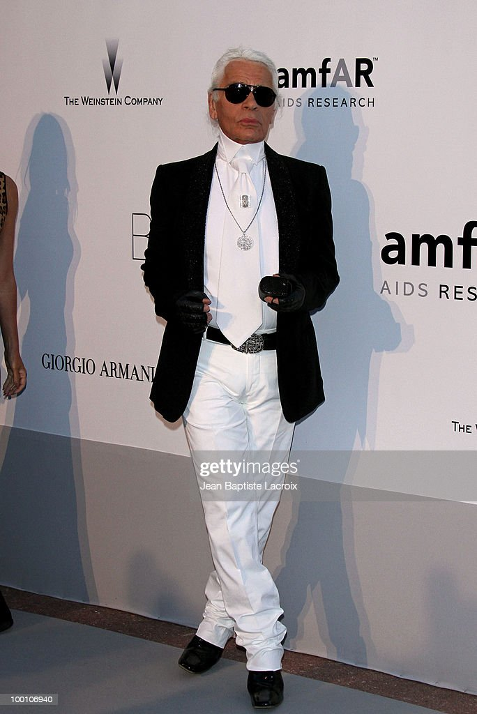 Karl Lagerfeld arrives at amfAR's Cinema Against AIDS 2010 benefit gala at the Hotel du Cap on May 20, 2010 in Cannes, France.