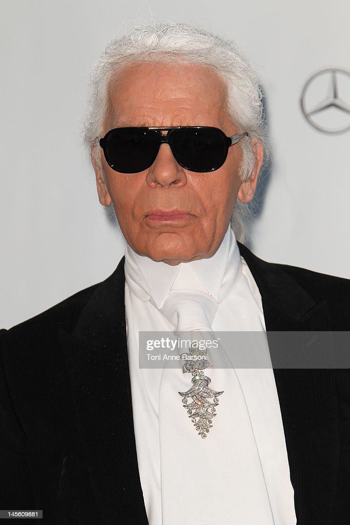 Karl Lagerfeld arrives at amfAR's Cinema Against AIDS at Hotel Du Cap on May 24, 2012 in Antibes, France.