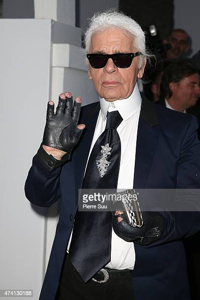 Karl Lagerfeld arrives at the Chanel and Vanity Fair party during the 68th annual Cannes Film Festival on May 20 2015 in Cannes France