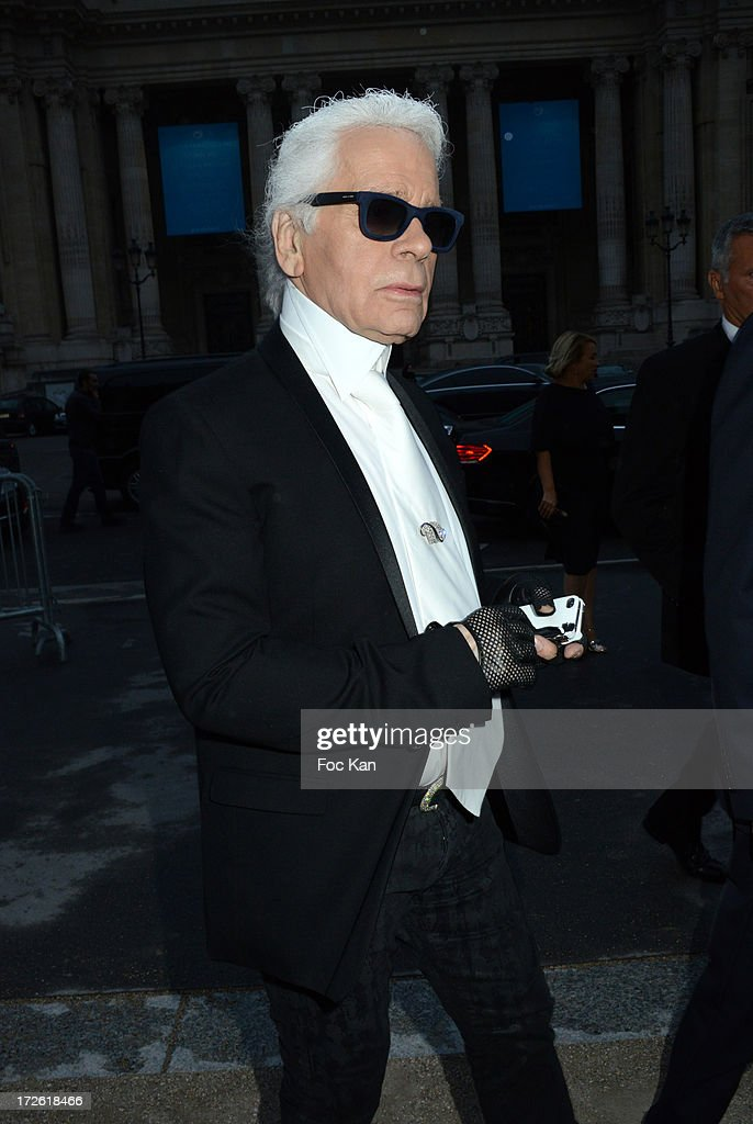 <a gi-track='captionPersonalityLinkClicked' href=/galleries/search?phrase=Karl+Lagerfeld+-+Fashion+Designer&family=editorial&specificpeople=4330565 ng-click='$event.stopPropagation()'>Karl Lagerfeld</a> arrives at the The Glory of Water' <a gi-track='captionPersonalityLinkClicked' href=/galleries/search?phrase=Karl+Lagerfeld+-+Fashion+Designer&family=editorial&specificpeople=4330565 ng-click='$event.stopPropagation()'>Karl Lagerfeld</a>'s exhibition at Fendi Store After Party : Outside Arrivals At the Petit Palais on July 3 on July 3, 2013 in Paris, France.