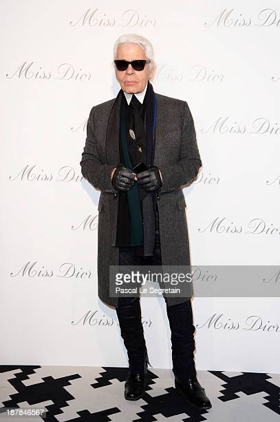 Karl Lagerfeld attends a photocall for 'Esprit Dior Miss Dior' exhibtion opening at Grand Palais on November 12 2013 in Paris France