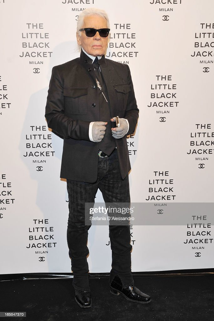 Karl Lagerfeld attends Chanel The Little Black Jacket - Karl Lagerfeld Photography Exhibition Dinner Party on April 4, 2013 in Milan, Italy.