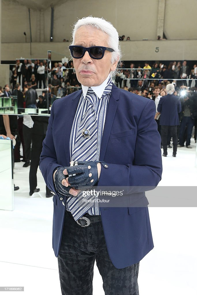 Karl Lagerfeld attends Dior Homme Menswear Spring/Summer 2014 show as part of Paris Fashion Week on June 29, 2013 in Paris, France.