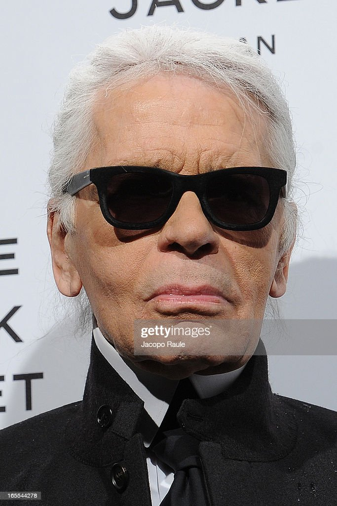 Karl Lagerfeld attends hanel The Little Black Jacket - Karl Lagerfeld Photography Exhibition Dinner Party on April 4, 2013 in Milan, Italy.