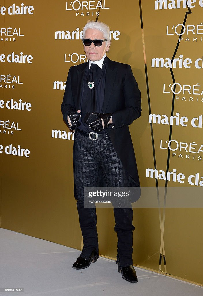 Karl Lagerfeld attends 'Marie Claire Prix de la Mode 2012' ceremony at the French Ambassadors Residence on November 22, 2012 in Madrid, Spain.