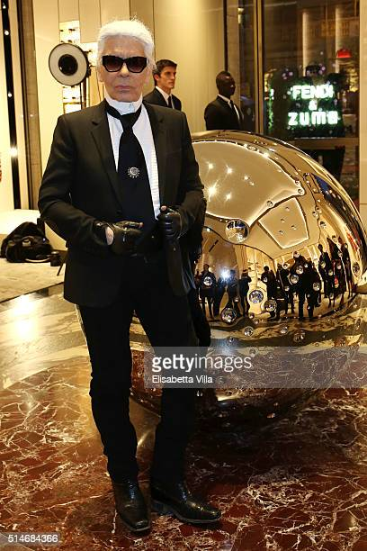 Karl Lagerfeld attends Palazzo FENDI And ZUMA Inauguration on March 10 2016 in Rome Italy