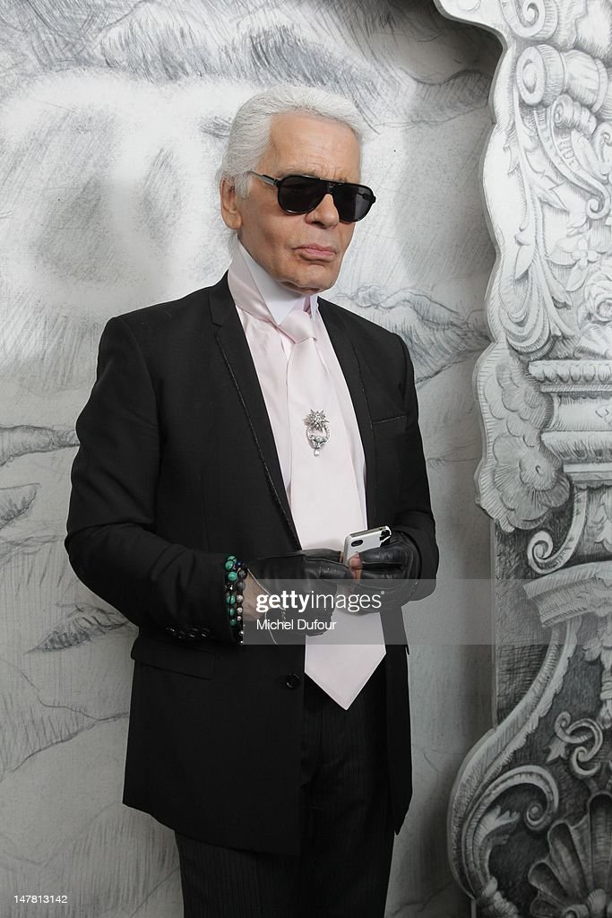 Karl Lagerfeld attends the Chanel Haute-Couture Show as part of Paris Fashion Week Fall / Winter 2013 at Grand Palais on July 3, 2012 in Paris, France.