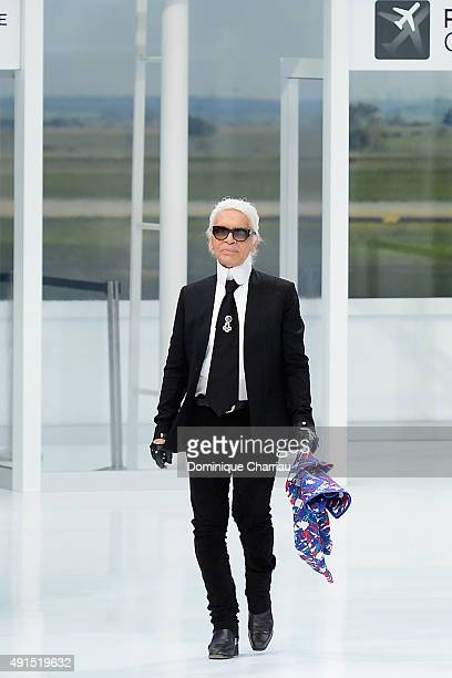 Karl Lagerfeld attends the Chanel show as part of the Paris Fashion Week Womenswear Spring/Summer 2016 on October 6 2015 in Paris France