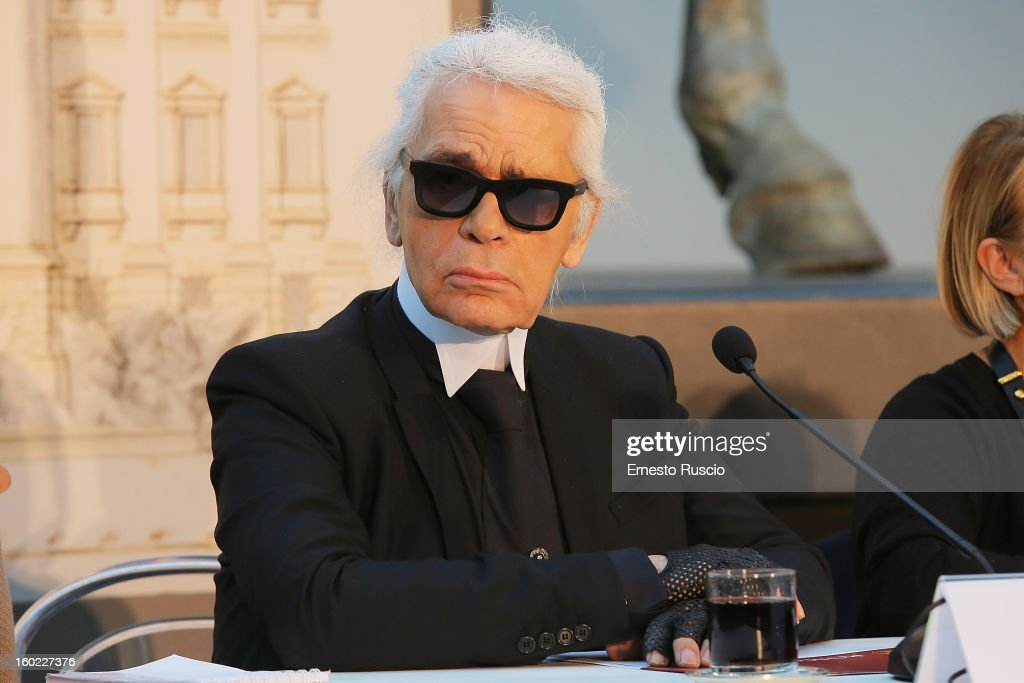 Karl Lagerfeld attends the 'Fendi For Fountains' press conference at Musei Capitolini on January 28, 2013 in Rome, Italy.