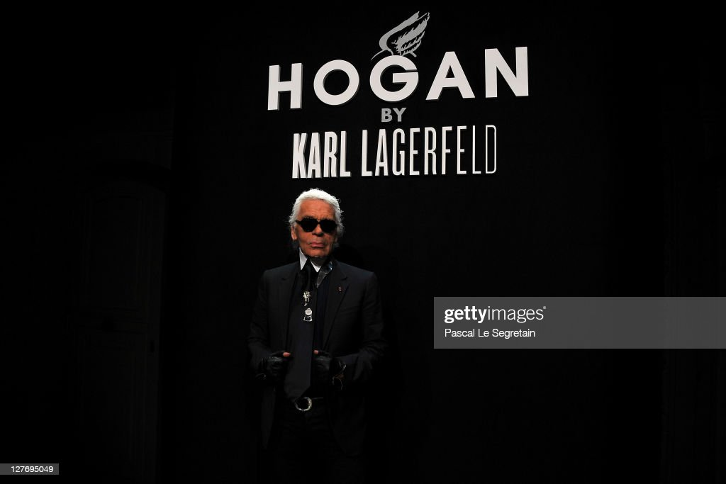 <a gi-track='captionPersonalityLinkClicked' href=/galleries/search?phrase=Karl+Lagerfeld+-+Fashion+Designer&family=editorial&specificpeople=4330565 ng-click='$event.stopPropagation()'>Karl Lagerfeld</a> attends the Hogan by <a gi-track='captionPersonalityLinkClicked' href=/galleries/search?phrase=Karl+Lagerfeld+-+Fashion+Designer&family=editorial&specificpeople=4330565 ng-click='$event.stopPropagation()'>Karl Lagerfeld</a> Ready to Wear Spring / Summer 2012 show and cocktail during Paris Fashion Week at Hotel Salomon de Rothschild on September 30, 2011 in Paris, France.