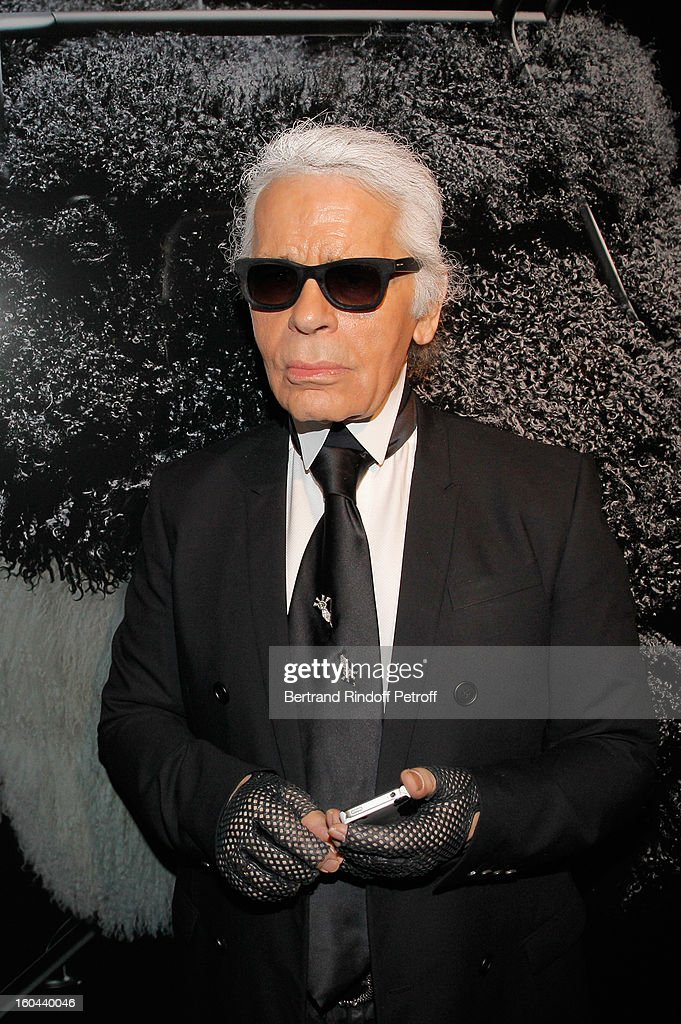 Karl Lagerfeld attends the Karl Lagerfeld Photo Exhibition Preview at the Showroom Cassina on January 31, 2013 in Paris, France.