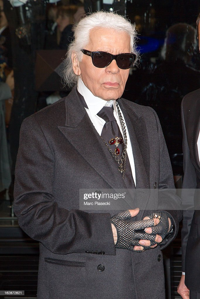 Karl Lagerfeld attends the Karl Lagerfeld's Concept Store Opening as part of Paris Fashion Week on February 28, 2013 in Paris, France.