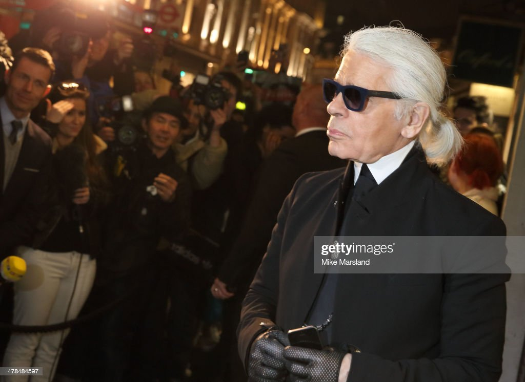 <a gi-track='captionPersonalityLinkClicked' href=/galleries/search?phrase=Karl+Lagerfeld+-+Fashion+Designer&family=editorial&specificpeople=4330565 ng-click='$event.stopPropagation()'>Karl Lagerfeld</a> attends the opening of <a gi-track='captionPersonalityLinkClicked' href=/galleries/search?phrase=Karl+Lagerfeld+-+Fashion+Designer&family=editorial&specificpeople=4330565 ng-click='$event.stopPropagation()'>Karl Lagerfeld</a>, Regent Street on March 13, 2014 in London, England.