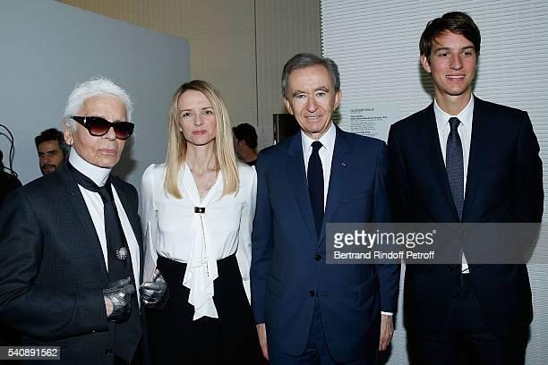 Karl Lagerfeld Delphine Arnault Bernard Arnault and Alexandre Arnault attend the LVMH Prize 2016 Young Fashion Designer at Fondation Louis Vuitton on...
