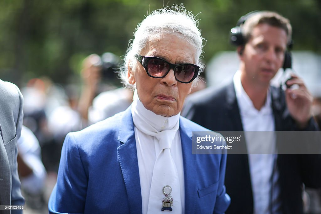 Karl Lagerfeld is seen, after the Dior show, during Paris Fashion Week Menswear Spring/summer 2017, on June 25, 2016 in Paris, France.