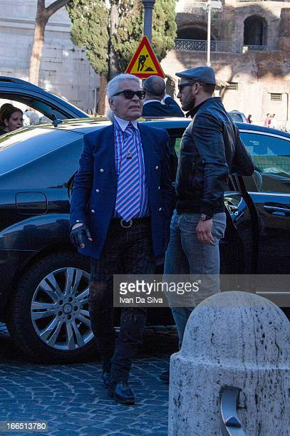 Karl Lagerfeld is seen directing a photoshoot on April 13 2013 in Rome Italy