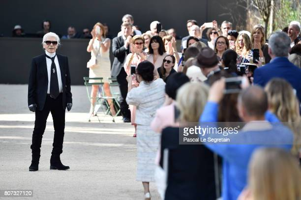 Karl Lagerfeld is seen on the runway during the Chanel Haute Couture Fall/Winter 20172018 show as part of Haute Couture Paris Fashion Week on July 4...