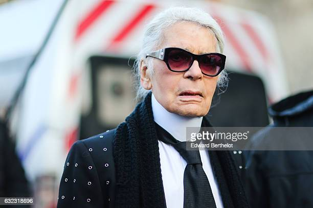 Karl Lagerfeld is seen outside the Dior show at the Grand Palais during Paris Fashion Week Menswear Fall/Winter 2017/2018 on January 21 2017 in Paris...