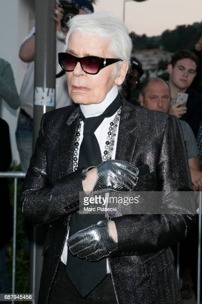 Karl Lagerfeld is spotted during the 70th annual Cannes Film Festival at the 'Vanity Fair CHANEL' dinner at Tetou restaurant on May 24 2017 in Cannes...