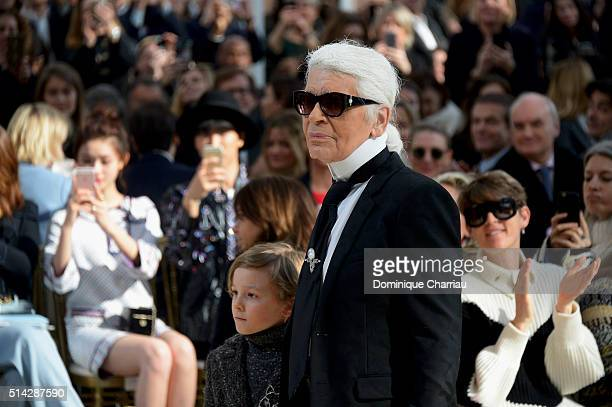 Karl Lagerfeld poses on the runway during the Chanel show as part of the Paris Fashion Week Womenswear Fall/Winter 2016/2017 on March 8 2016 in Paris...