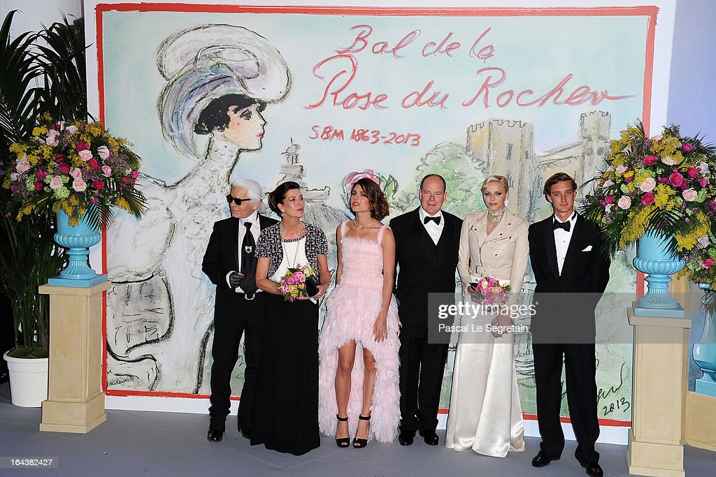 Karl Lagerfeld, Princess Caroline of Hanover, Charlotte Casiraghi, Prince Albert II of Monaco, Princess Charlene of Monaco and Pierre Casiraghi attend the 'Bal De La Rose Du Rocher' in aid of the Fondation Princess Grace on the 150th Anniversary of the SBM at Sporting Monte-Carlo on March 23, 2013 in Monte-Carlo, Monaco.