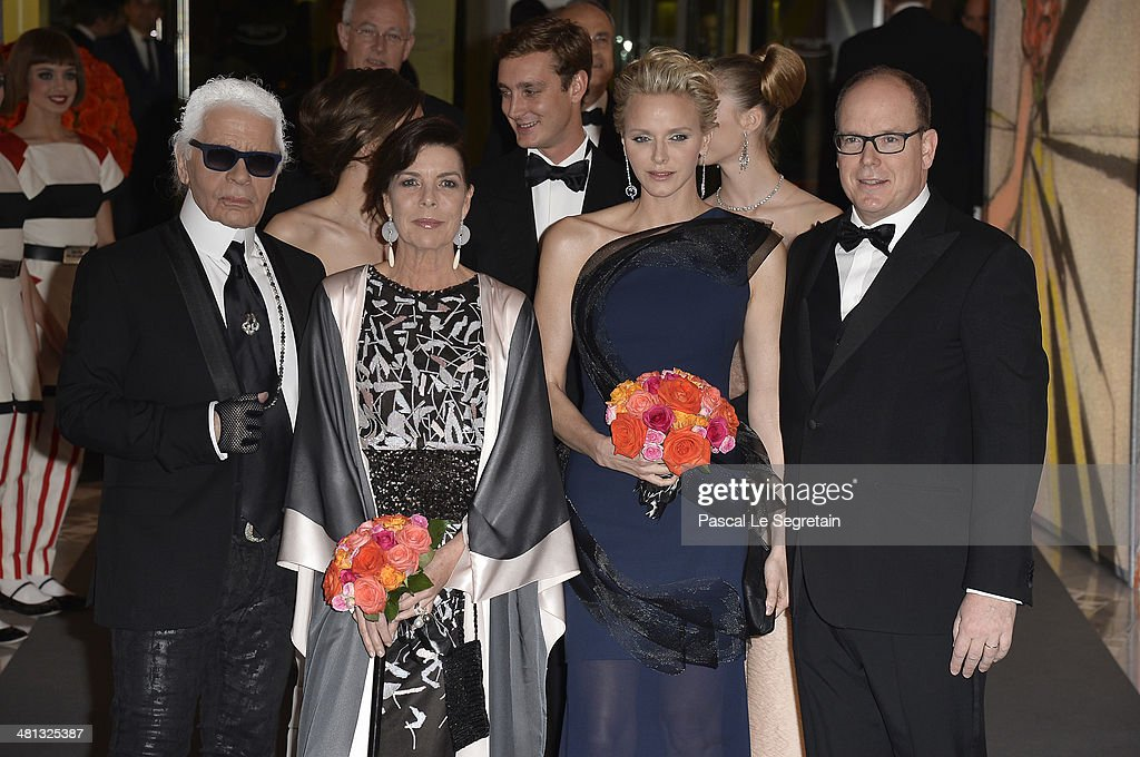 Karl Lagerfeld Princess Caroline of Hanover Princess Charlene of Monaco and Prince Albert II of Monaco attend the Rose Ball 2014 in aid of the...