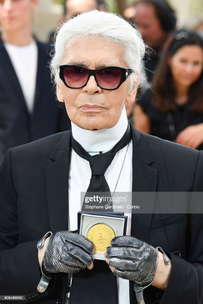 Karl Lagerfeld received from Paris Mayor Anne Hidalgo the 'Medaille Grand Vermeil de la Ville de Paris' after the Chanel Haute Couture Fall/Winter 2017-2018 show as part of Haute Couture Paris Fashion Week on July 4, 2017 in Paris, France.