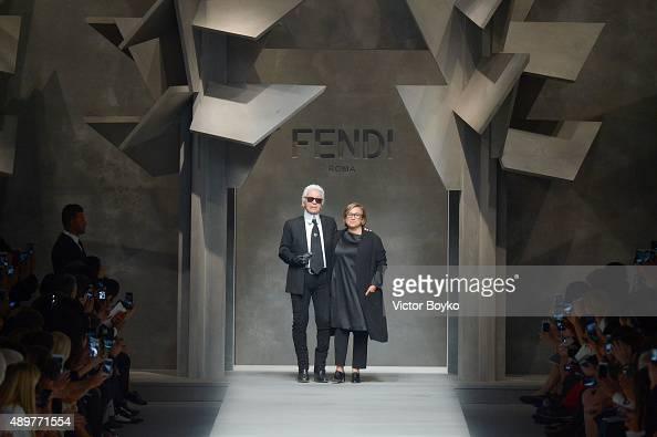 Karl Lagerfeld Silvia Fendi walk the runway during the Fendi fashion show as part of Milan Fashion Week Spring/Summer 2016 on September 24 2015 in...