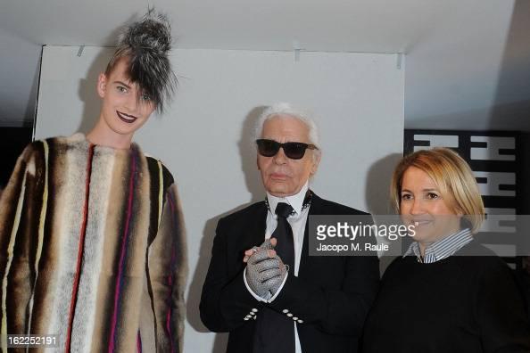 Karl Lagerfeld Silvia Venturini Fendi and a model attend the Fendi fashion show as part of Milan Fashion Week Womenswear Fall/Winter 2013/14 on...