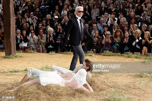 Karl Lagerfeld walk the runway for final at Chanel Pret a Porter show as part of the Paris Womenswear Fashion Week Spring/Summer 2010 at Grand Palais...