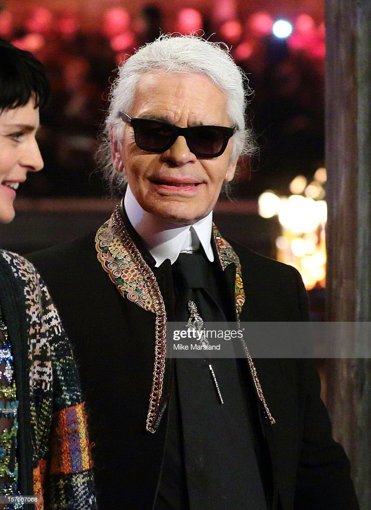 Karl Lagerfeld walks the runway at the