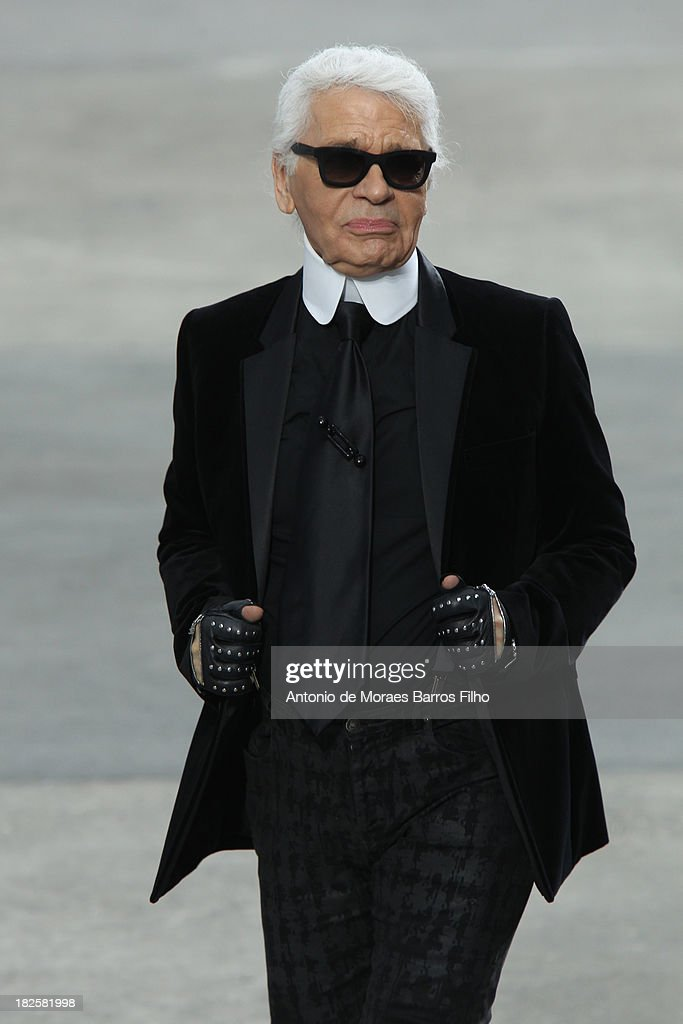 Karl Lagerfeld walks the runway during Chanel show as part of the Paris Fashion Week Womenswear Spring/Summer 2014 on October 1, 2013 in Paris, France.