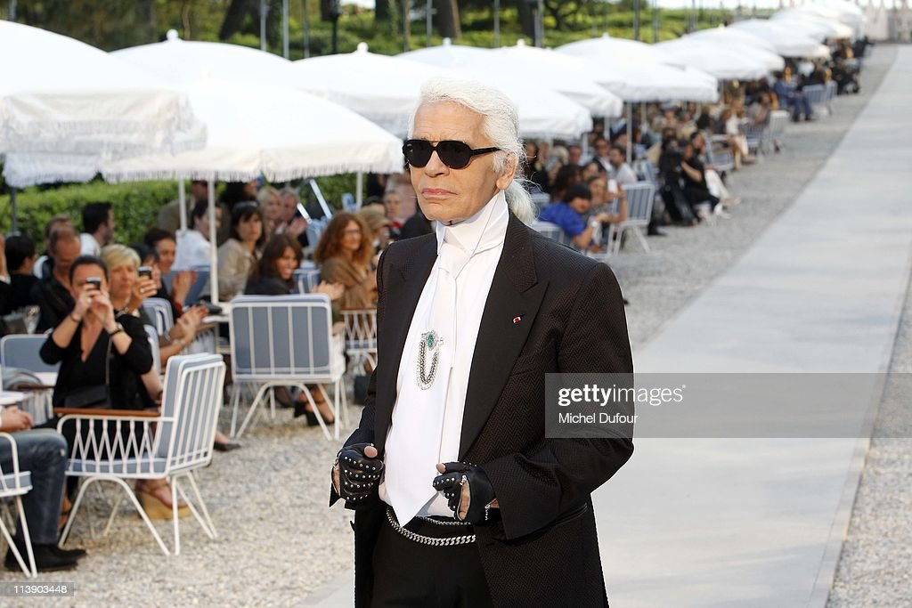 Karl Lagerfeld walks the runway during the Chanel Collection Croisiere at Hotel du Cap on May 9, 2011 in Cap d'Antibes, France.