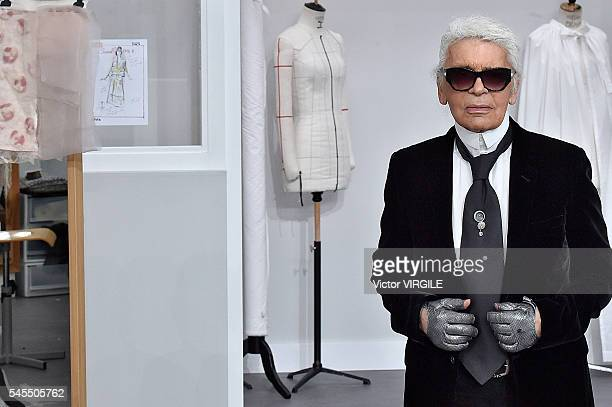 Karl Lagerfeld walks the runway during the Chanel Haute Couture Fall/Winter 20162017 show as part of Paris Fashion Week on July 5 2016 in Paris France