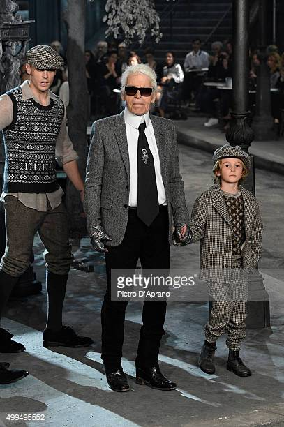 Karl Lagerfeld walks the runway during the Chanel Metiers d'Art 2015/16 Fashion Show at Cinecitta on December 1 2015 in Rome Italy