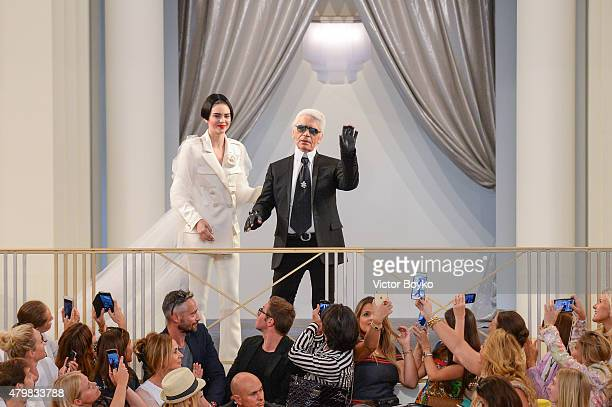 Karl Lagerfeld walks the runway during the Chanel show as part of Paris Fashion Week Haute Couture Fall/Winter 2015/2016 on July 7 2015 in Paris...