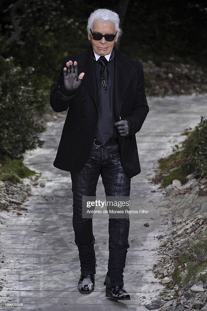 Karl Lagerfeld walks the runway during the Chanel Spring/Summer 2013 Haute-Couture show as part of Paris Fashion Week at Grand Palais on January 22, 2013 in Paris, France.