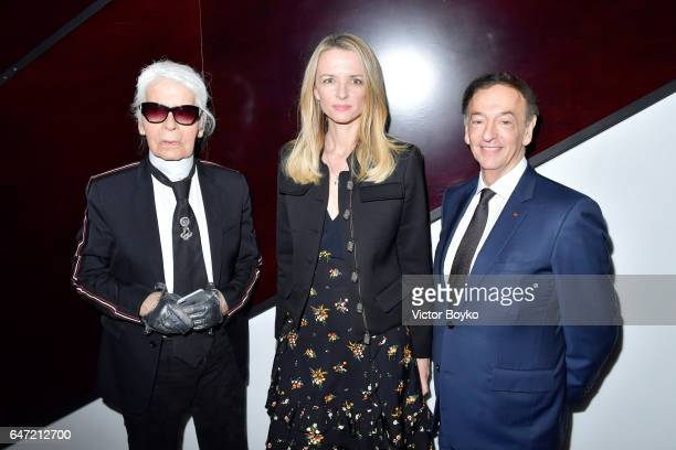 Karl LagerfeldDelphine Arnault and JeanPaul Claverie attend the Cocktail Reception For The LVMH PRIZE 2017 on March 2 2017 in Paris France