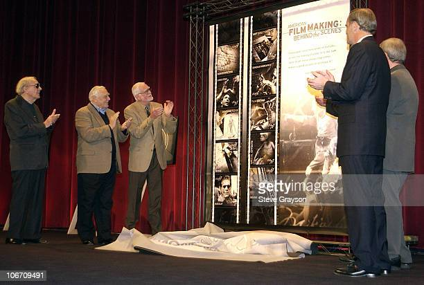 Karl Malden and Ernest Borgnine look on aa the First Day of Issue American Filmmaking postage stamps are unveiled