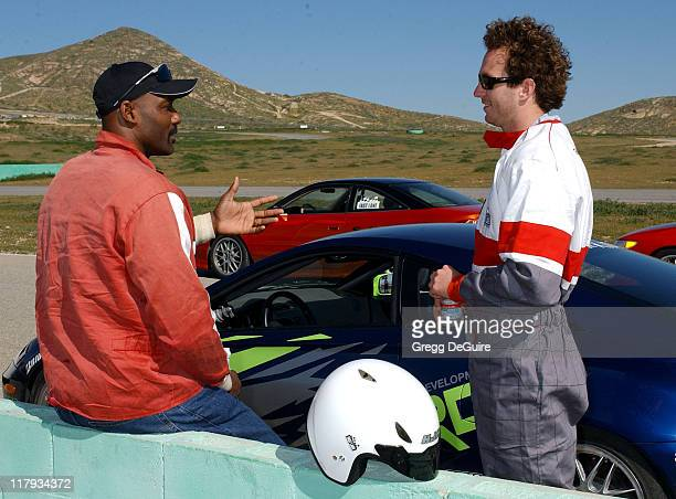 Karl Malone and Aaron Peirsol during 2005 Toyota Pro/Celebrity Race Driver Training at Willow Springs International Raceway in Rosamond California...