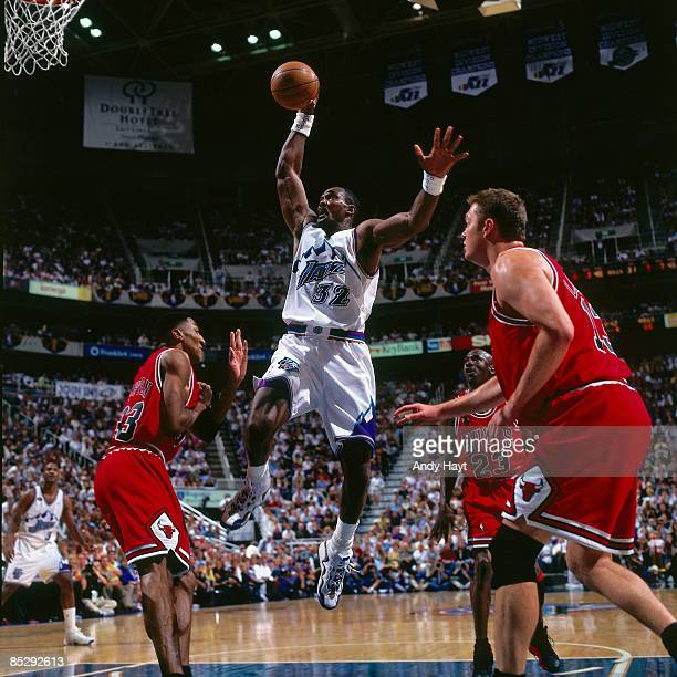 Karl Malone of the Utah Jazz elevates for a dunk against Scottie Pippen of the Chicago Bulls in Game One of the 1998 NBA Finals at the Delta Center...