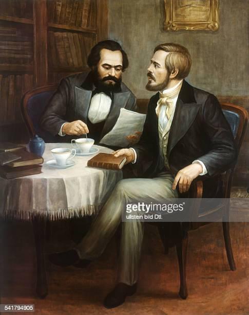 Karl Marx *0505181814031883 Philosoph Revolutionär D mit Friedrich Engels am Kaffeetisch im Gespräch Gemälde von Hans Mocznay Deutsches Historisches...