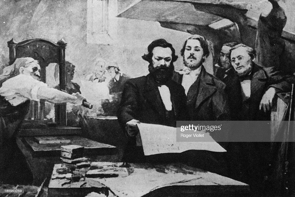 Karl Marx and Engels in the printing house of the 'Neue Rheinische Zeitung' (newspaper published in Cologne at the time of the Revolution of 1848-1849). Painting by E. Capiro.