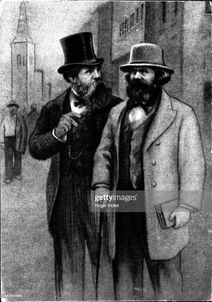 Karl Marx and Friedrich Engels German social theorists circa 1850 By Joukov