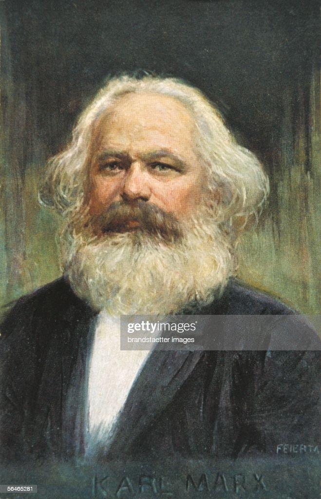 Karl Marx founder of marxism Around 1910 Post card Colour print [Karl Marx Begruender des Marxismus Um 1910 Postkarte Farbdruck]