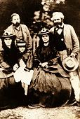 Karl Marx German philosopher political economist and revolutionary Surrounded by his daughters and Friedrich Engels In London in 1864