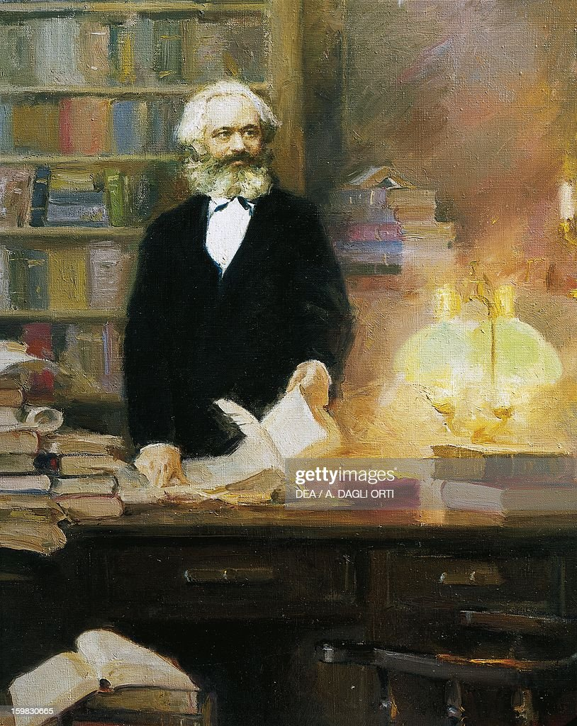 <a gi-track='captionPersonalityLinkClicked' href=/galleries/search?phrase=Karl+Marx&family=editorial&specificpeople=76462 ng-click='$event.stopPropagation()'>Karl Marx</a> in his studio, 1875, painting by Zhang Wun. Treviri, Karl-Marx-Haus