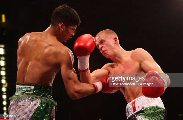Karl Place on his way to stopping opponent Abul Taher during the Lightweight fight at the Bolton Arena Bolton