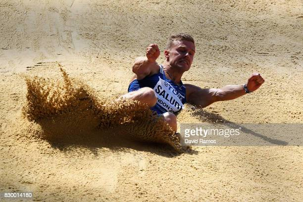 Karl Robert Saluri of Estonia competes in the Men's Decathlon Long Jump during day eight of the 16th IAAF World Athletics Championships London 2017...